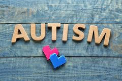 Word AUTISM made with letters. On wooden background Stock Photography