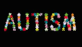 Word AUTISM made of multi colored puzzle pieces on black background. Vector illustration. Word AUTISM made of multi colored puzzle pieces on black background royalty free illustration