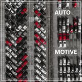 Word Auto Motive over many cars from above. Stock Photos