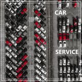 Word Auto Service over many cars from above. Stock Photo