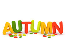 Word Autumn with colorful letters and leaves. On white background. 3d Image Stock Photos