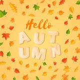 Word AUTUMN composition with green yellow red leaves on yellow background in paper cut style. Fall leaf 3d realistic. Letters for design poster, banner, flyer T stock illustration