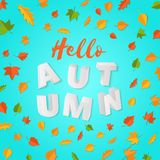 Word AUTUMN composition with green yellow red leaves on blue background in paper cut style. Fall leaf 3d realistic. Letters for design poster, banner, flyer T Stock Photos