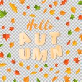 Word AUTUMN composition with green yellow red leaves with shadow in paper cut style. Fall leaf 3d realistic letters for. Design poster, banner, flyer T-shirt Stock Photos