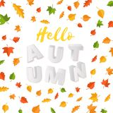 Word AUTUMN composition with green yellow red leaves on white background in paper cut style. Fall leaf 3d realistic. Letters for design poster, banner, flyer T Stock Photography