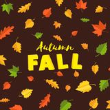 Word autumn FALL composition with green yellow red leaves on brown background in paper cut style. Fall leaf 3d realistic. Letters for design poster, banner royalty free illustration
