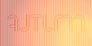 Word AUTUMN. Geometric Stripy Line Art Poster in yellow, orange colors. Vector Illustration EPS10 stock illustration