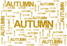 Word autumn made of leaves and blurred word isolated on white. Close Royalty Free Stock Photos