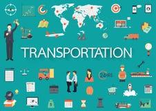 Word avec les icônes plates Concept de transport Photo libre de droits