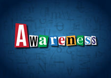 The word Awareness made from cutout letters. On a blue background Stock Photo