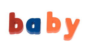 Word the baby from blocks Stock Image