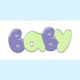 Word Baby in cartoon style Stock Photography