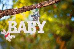 Word Baby and knitting cute toys. White plastic inscription on the branch tree Royalty Free Stock Photo