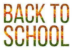 Word Back to school written with leaves white isolated background, banner for printing, creative illustration of colored stock photography