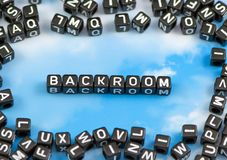 The word backroom. On the sky background stock photography