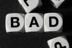 Word bad on toy cubes Royalty Free Stock Image