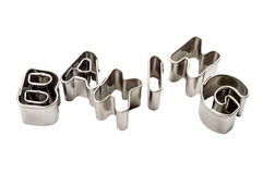 Word baking of baking tins Stock Photography