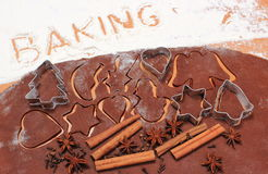 Word baking, cookie cutters and spice on dough for gingerbread. Word baking written in white flour, cookie cutters, anise, cinnamon and cloves lying on dough for Stock Image