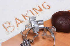 Word baking written in flour and dough for gingerbread Stock Photo