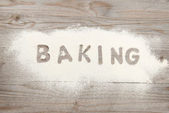 Word baking written in flour Royalty Free Stock Photography