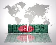 Word Bangladesh sur un fond de carte du monde Images stock