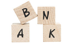 Word Bank Written With Wooden Blocks. Stock Photo