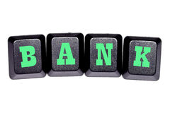 The word  bank  on your keyboard keys Royalty Free Stock Images