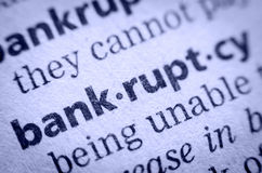 Word bankruptcy in glossary, super macro Stock Photo