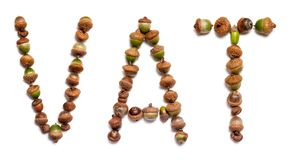 Word barrel out of acorns. Word barrel composed of green acorns on a white background stock illustration