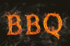 Word bbq with flaming fire effect. Illustration of word bbq barbecu on realistic flamming burning hot fire with reflection Stock Image