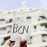 Word BCN, for Barcelona, in a note Royalty Free Stock Photo