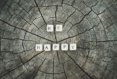 Word be happy of wooden beads on a tree stump surface in the forest. Word be happy of wooden alphabet beads on a tree stump surface in the forest royalty free stock images