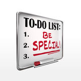 The word be special on to-do list whiteboard Royalty Free Stock Image