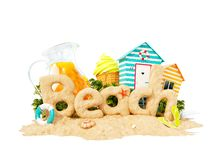 The word Beach made of sand on tropical island. Unusual 3d illustration of summer vacation. Travel and vacation concept. The word Beach made of sand on a royalty free illustration