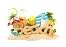 The word Beach made of sand on tropical island. Unusual 3d illustration of summer vacation. Travel and vacation concept. The word Beach made of sand on a stock illustration