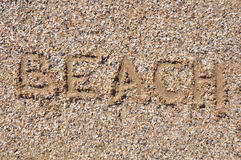 word Beach on sand Royalty Free Stock Photography
