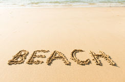 Word beach written on beach Royalty Free Stock Photography