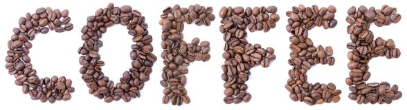 Word from beans coffee Royalty Free Stock Images