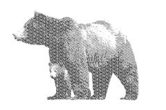 Word bear mixed to be figure of bear, with typography style, iso Stock Image