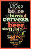 Word Beer in different languages Royalty Free Stock Photos