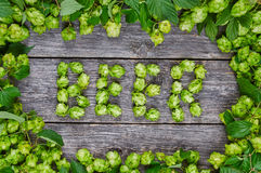 The word BEER made from hop cones Royalty Free Stock Photography