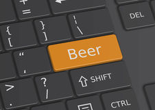The word Beer written on the keyboard. The word Beer written on a yellow key from the keyboard Stock Photo