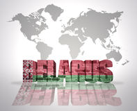 Word  Belarus. Word Belarus with belorussian Flag on a world map background Stock Images