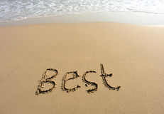 Word best drawn on the beach Stock Photography
