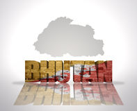 Word Bhutan on a map background Royalty Free Stock Photography