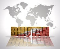 Word Bhutan on a world map background Stock Photography
