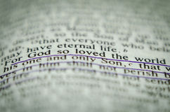 Word in bible John 3 16. Word in bible John 3:16 God so loved the world Stock Photo