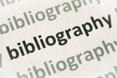 Word bibliography printed on paper macro. Word bibliography printed on white paper macro royalty free stock image
