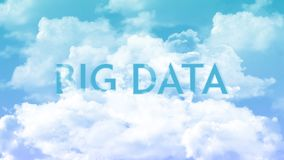 Word BIG DATA in the clouds, blue sky colors stock illustration