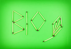 Word BIO made of matchsticks Royalty Free Stock Image
